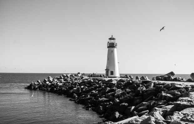 lighthouse santa cruz black and white sea